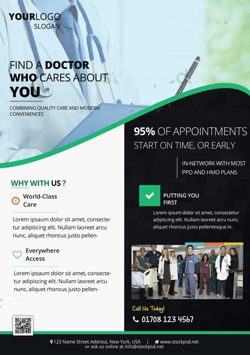medical health free flyer template download for photoshop