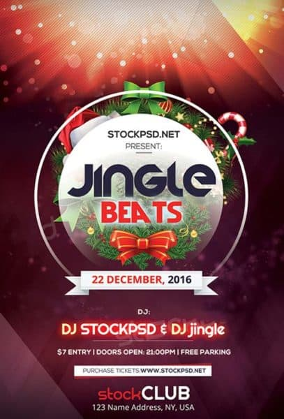 Jingle Beats Free Christmas Flyer Template