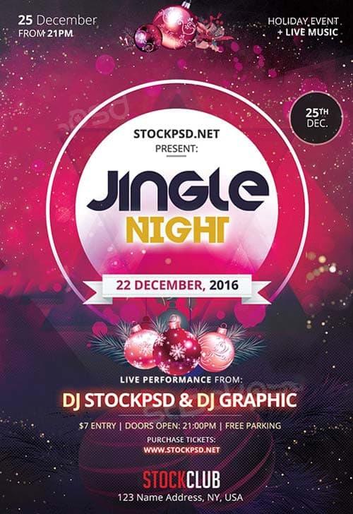 Jingle Night Free Christmas Flyer Template