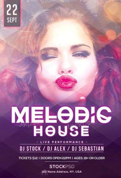 Melodic House Free PSD Flyer Template