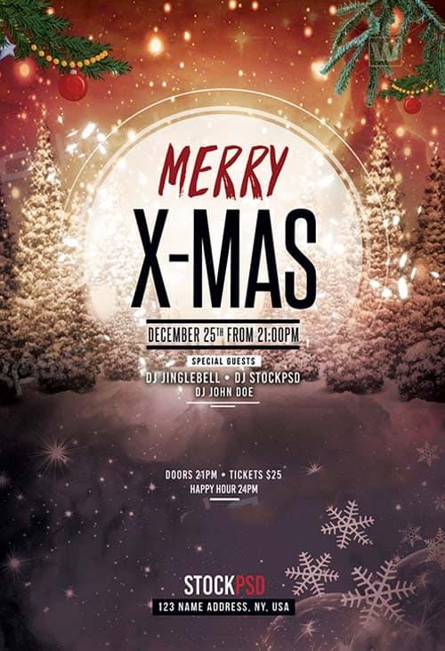 merry x-mas 2017 free flyer template
