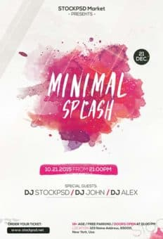 Minimal Splash Electro Free PSD Flyer Template