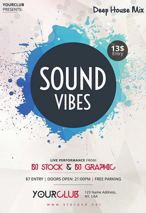 FreePSDFlyer | Sound Vibes Free Flyer Template - Download for Photoshop