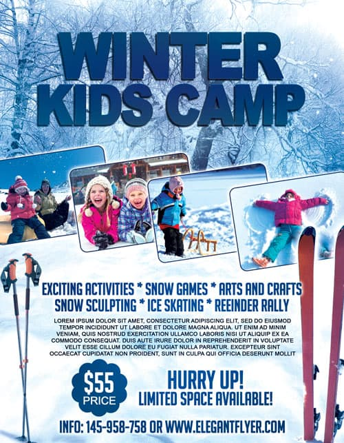 Winter Kids Camp Free Flyer Template