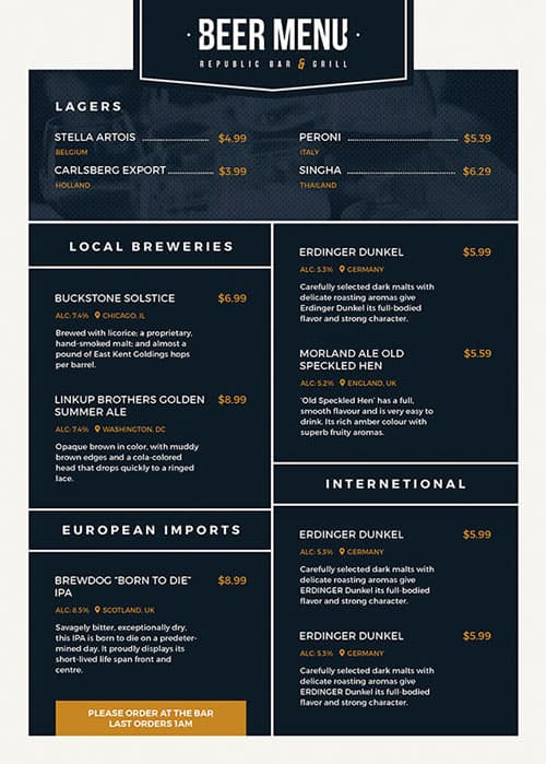 free beer menu flyer template