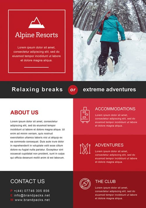 FreePSDFlyer Free Alpine Resorts Business Flyer Template - Hotel flyer templates free download