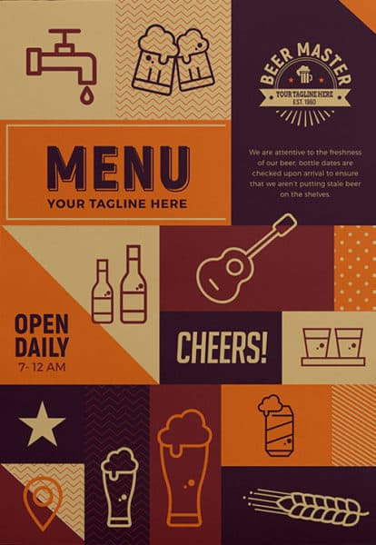 Free Craft Beer Menu Flyer Template Download for Photoshop – Beer Menu