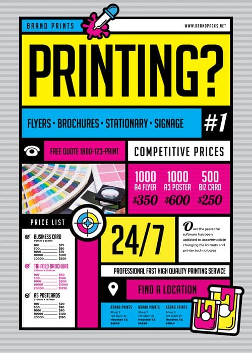 Free print shop flyer template download for photoshop for Free downloadable poster templates