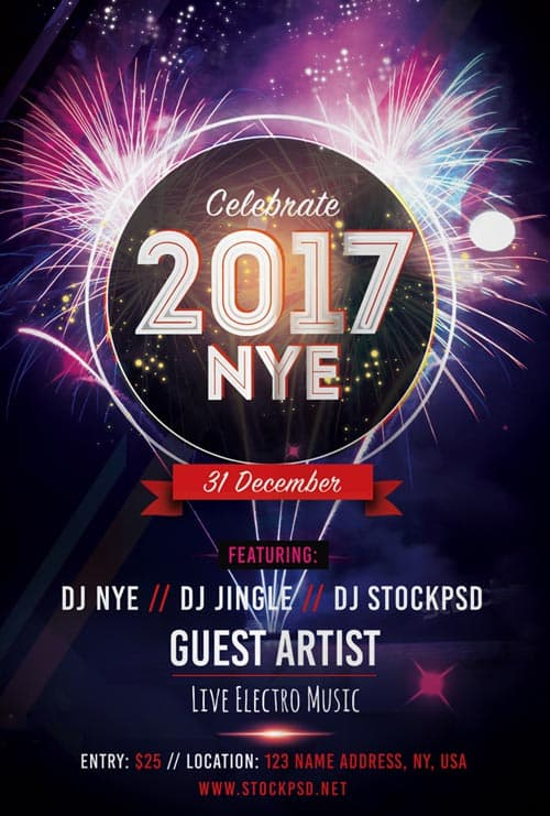 New Years Eve 2017 Party Free Flyer Template