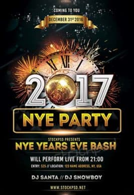 NYE 2017 Party Free PSD Flyer Template