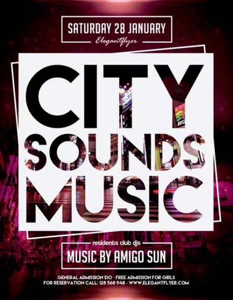City Sounds Music Free Flyer Template