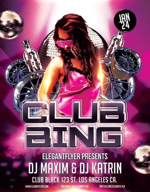 Clubbing Party Free PSD Flyer Template