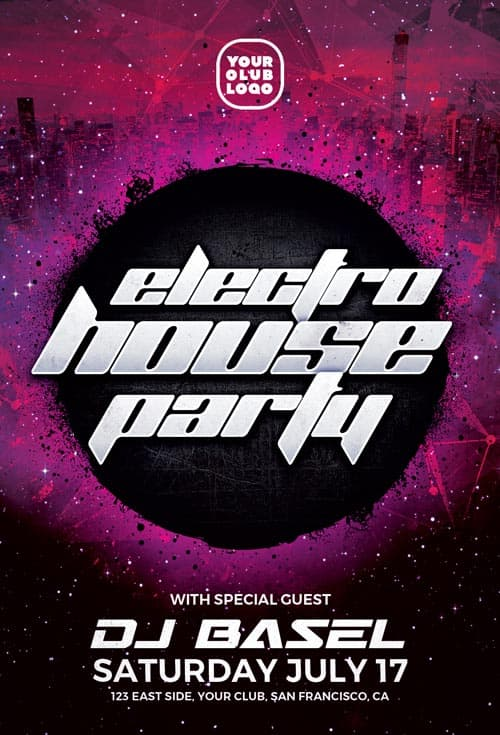 electro house free party flyer template download free flyer templates. Black Bedroom Furniture Sets. Home Design Ideas