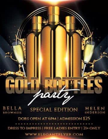 Gold Bottle Party Free Flyer Template