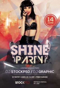 Shine Party Free PSD Flyer Template