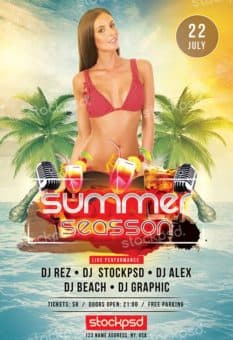 Summer Season Free PSD Flyer Template