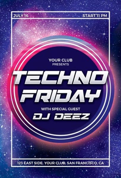 Free Techno Party Flyer Template
