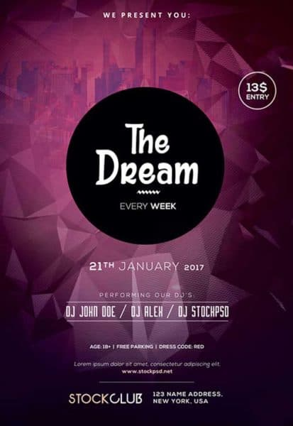Dream Party Free PSD Flyer Template
