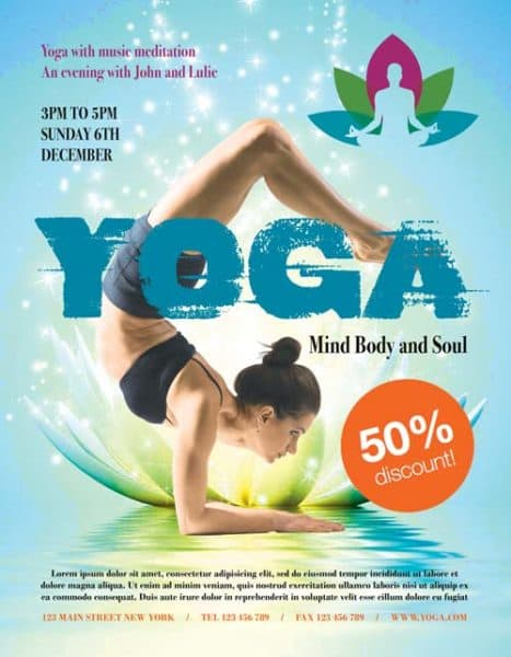 Yoga Fitness Free PSD Flyer Template