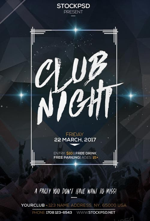club night party free flyer psd template