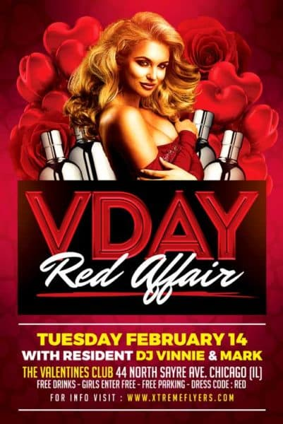 Free Valentines Day Single Party Flyer Template