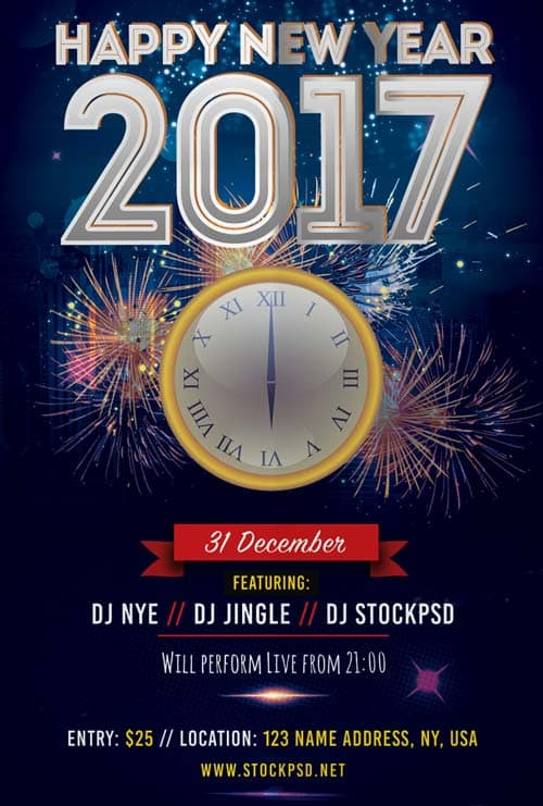 Download the best Free New Year Flyer PSD Templates for Photoshop – New Year Poster Template