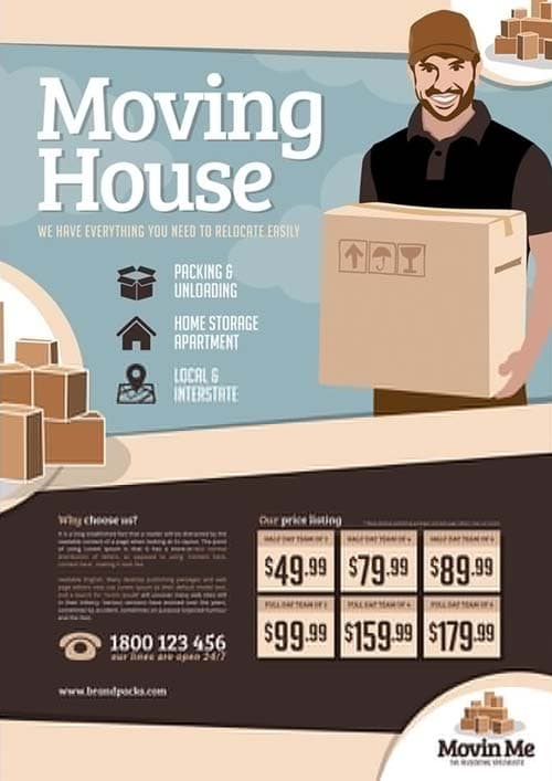 House Moving Company Free Poster Template