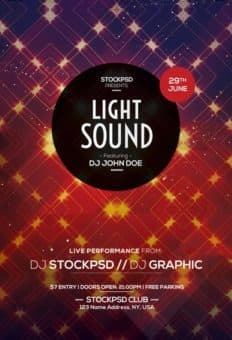 Light Sound Party Free Flyer PSD Template