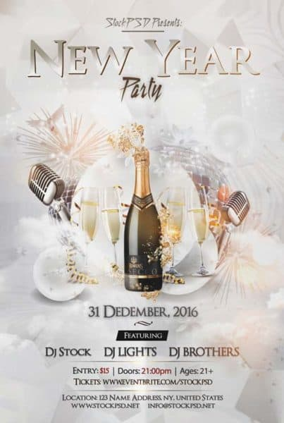 New Years 2017 Party Free Flyer Template