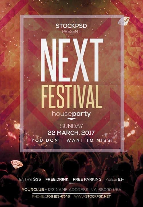 next electro festival free flyer psd template