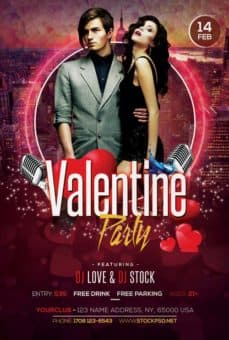 Valentines Party 2017 Party Free Flyer Template