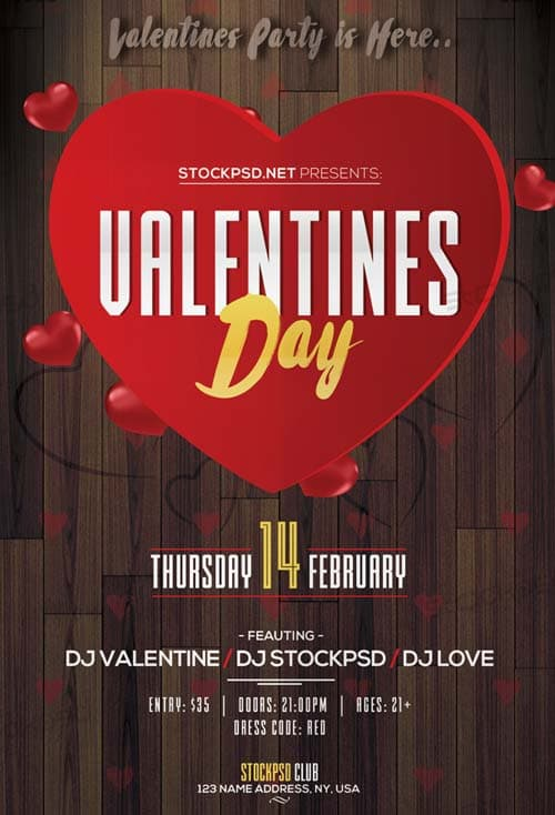 Valentine S Day Event 2017 Party Free Flyer Template Download Flyer