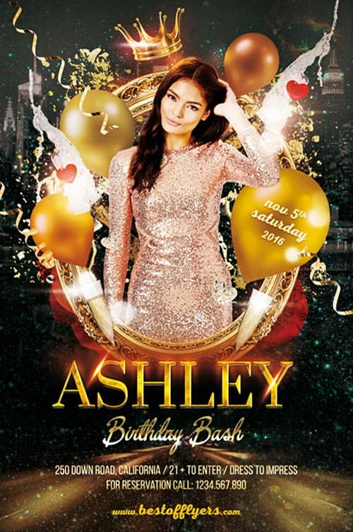 Birthday Bash Party Flyer Template - Download Birthday Party Flyer