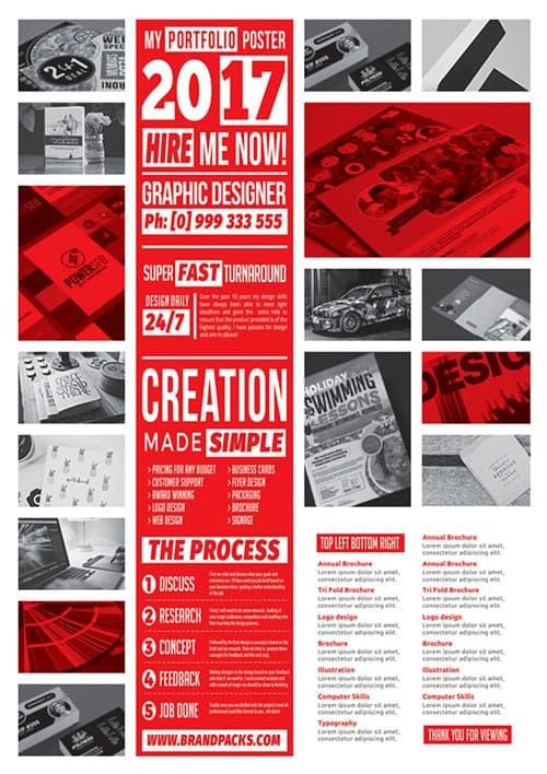 Modern A4 Portfolio Free Poster Template