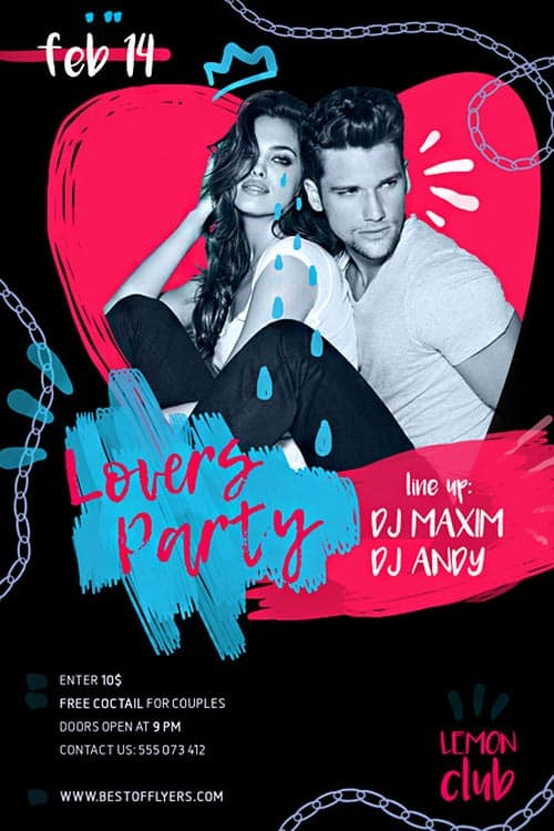 Lovers Party Free PSD Flyer Template