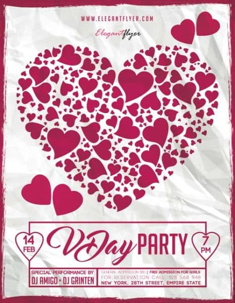 V-Day Party Free Flyer Template
