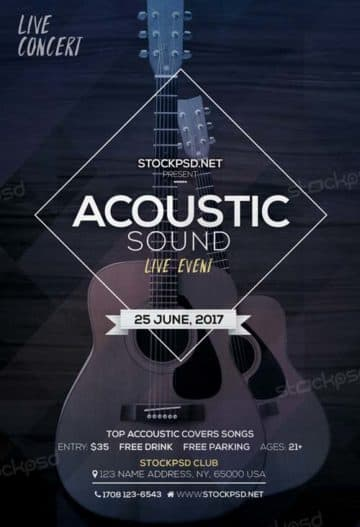 Acoustic Sound Free PSD Flyer Template