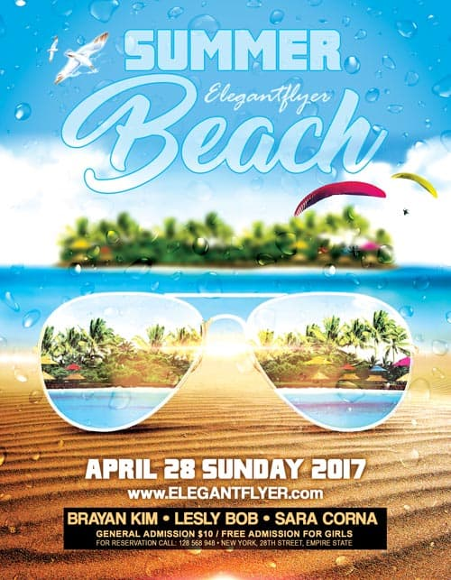 Pool Party Flyer Template Beach Party Tropical Summer Pool Flyer