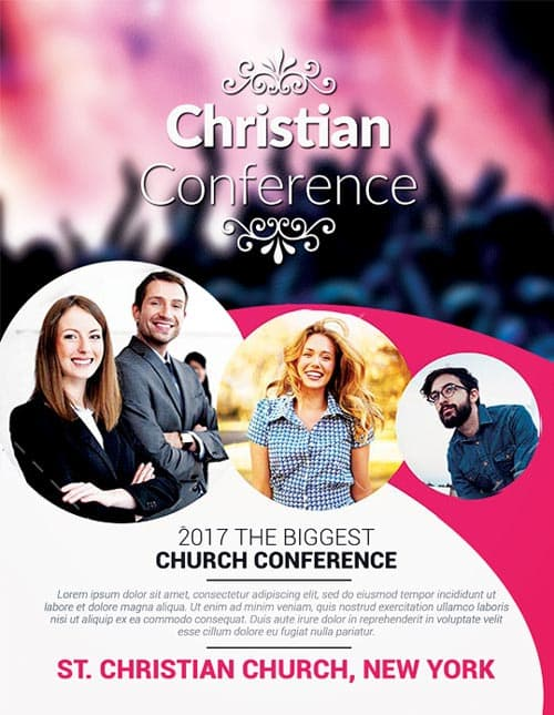 Christian conference church psd flyer template download for Free church flyer templates photoshop