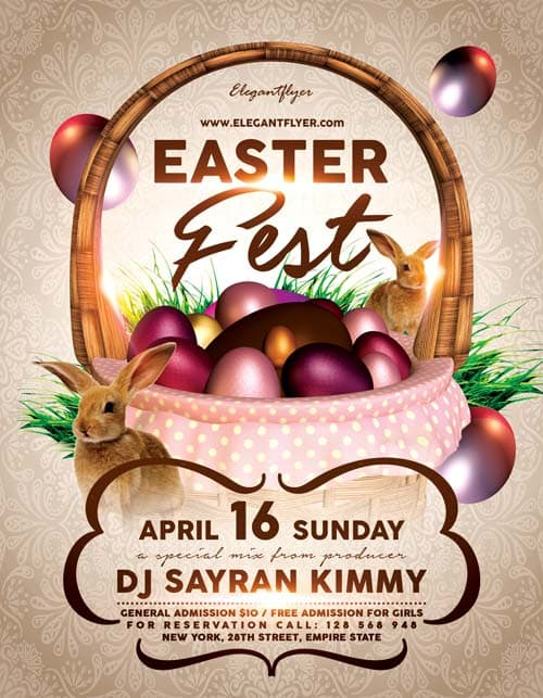 Freepsdflyer  Easter Fest Free Flyer Template  Download Club And