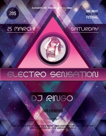 Electro Sensation Party Event PSD Flyer Template