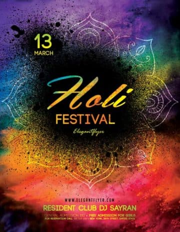 Holi Festival Free Flyer Template