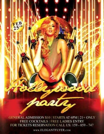 Hollywood Party Event PSD Flyer Template