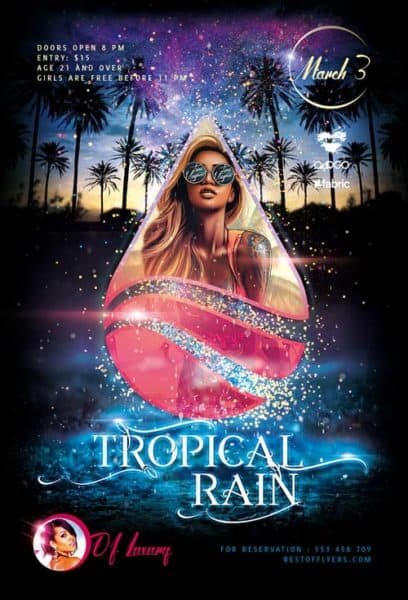 Tropical Rain Free PSD Poster Template