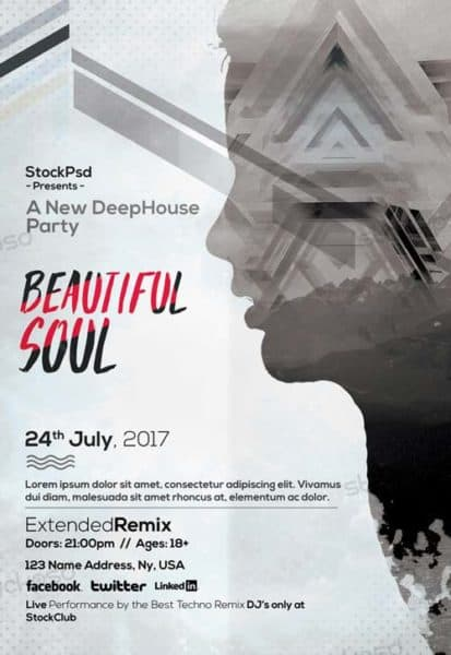 Beautiful Soul Electro Free PSD Flyer Template
