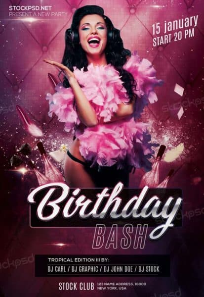 Birthday Bash Party Free PSD Flyer Template  Birthday Flyer Templates Free
