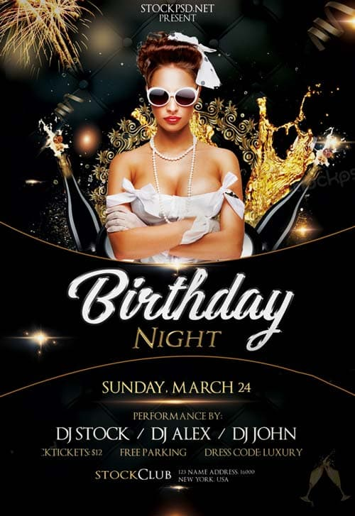 Freepsdflyer Birthday Gold Night Free Psd Flyer Template