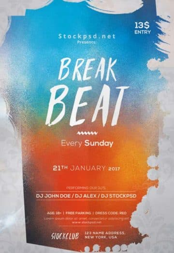 Electro Beats Party Free PSD Flyer Template