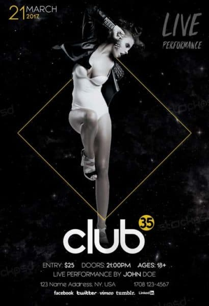 Dance Club Free PSD Flyer Template