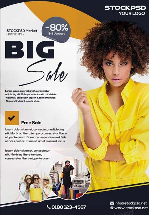 Big Sale E-Commerce Free PSD Flyer Template